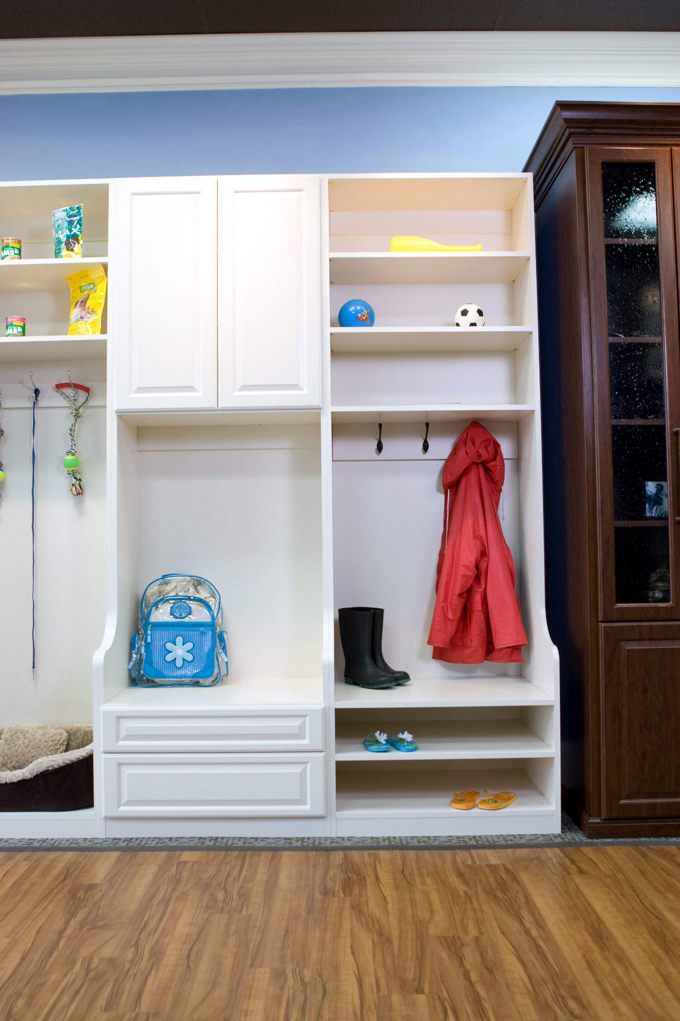 Closed Mudroom Cabinets Provide A Good Way To Keep Your Active Family  Organized. Elongated Cabinets In A Built In Mudroom Organizer Provide A  Space To Store ...